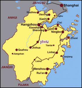 Mapa de localización de Yiwu en la provincia de Zhejiang